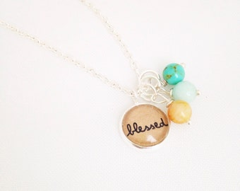Blessed.  Tiny Silver Charm Necklace.  Add Birthstones.  Grandma or Mom Necklace.