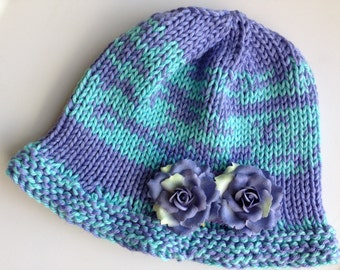 Turquoise and Perriwinkle/Lavender Handknit Cotton Hat with Flower Pin, Chemo Cap