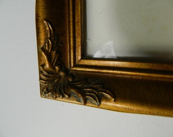 Vintage Gold Wood Frame with Glass, Decorative Frame, Empty Gold Gilt Wood Frame