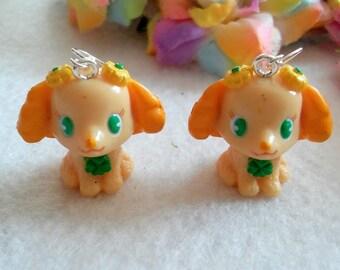 Pair of Yellow Dog Earrings