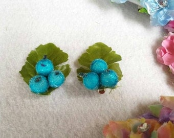 Pair Blueberry Hair Pins. Hair Accessories.