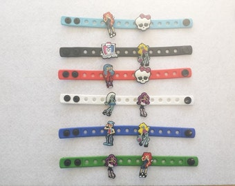 10 Monster High Silicone Charm Bracelets