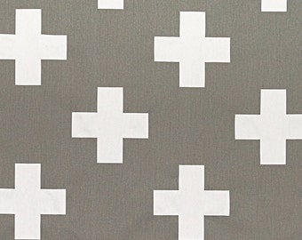 Gray Swiss Cross Curtains. Pair of 2 Drapery Panels. Large Plus Sign. Bedroom Window Treatments.