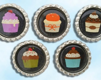 Cupcakes, birthday, dessert, party, sweets, bakery, baker, Bottle cap magnets
