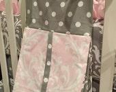 Diaper Stacker Pink Damask gray polka dot