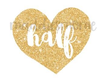 Glitter Heart Half Birthday DIY Iron on T Shirt Transfer 6 Month Birthday Baby Girl (Gold Glitter Heart Half)