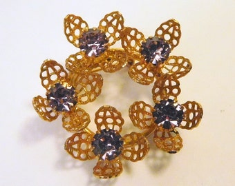 Vintage Violet - Light Amethyst Circle Pin Brooch - Lacey Filigree Flower - Gold Tone - Prong Set - Old Jewelry