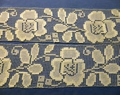 "Vintage Lace Trim - 4 yards of 4 1/2"" wide cotton net with series of 8"" long Beautiful Large woven flower with stem & leaves, straight edges"