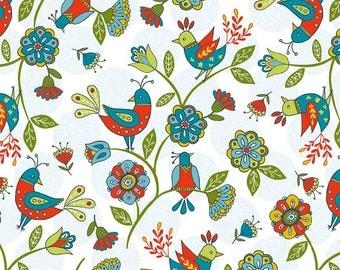 Colorful Bird Folkart Fabric - Dutch Treat by Betz White from Riley Blake - One Yard