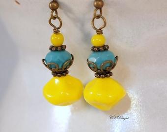 Czech Yellow Earrings,  Vintage Czech Bead Earrings, Brass Dangle Pierced or Clip-on Earrings. OOAK Handmade Earrings. Gift for Her