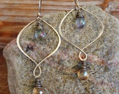 Cherish. Handmade Artisan Gold Brass Chandelier Drop Earrings with Wire Wrapped Mystic Quartz and Champagne Quartz Gemstones-Christmas Gift
