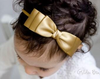 Christmas Baby Gold Ella Bow Clip OR Headband - Flower Girl Headband - Baby Bow - Girls Satin Bow - Bun Hair Bow - Baby to Adult Headband