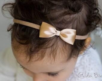 Mocha Baby Bows - Mocha Flower Girl Headband - Small Satin Mocha Bow Handmade Headband - Newborn to Adult Headband