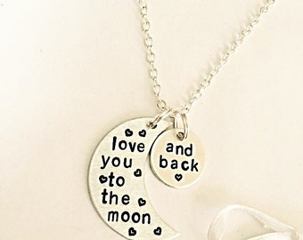 Love You To The Moon And Back - Hand Stamped Necklace - Moon Necklace - Romantic Jewelry - Hand Stamped Jewelry - Anniversary - Love Jewelry