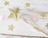 Twinkle Little Star Wand ~ Birthday Party Favor ~ Gold Glitter ~ Decoration ~ Choice of  RibbonColor