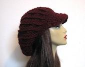 Crochet newsboy hat Burgundy dreadlocks hat Dark Red rasta hat Knit Wine Slouchy newsboy Cap Oversized Hat Maroon Newsboy Hat with Visor
