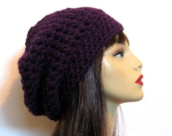 Crochet Slouchy Hat Purple Knit Beanie Purple Slouchy Cap Plum Beret Purple Slouchy Tam Purple Crochet Hat Eggplant Beanie  Puple Knit Tam