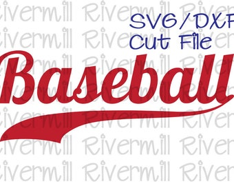 SVG DXF Baseball With Swash Word Cut File