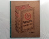 Vintage 1920-30's Webster Composition School Notebook. No. 5571.  In good condition with Pencil marks