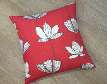 Square RED pillow, petal flower design, Red White Grey, linen cushion cover. JOHN LEWIS fabric Gingko Chilli,Tomato red pillow cushion cover