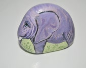 Hand Painted Stone. Elephant. Natural River rock. Artwork Paperweight 3D