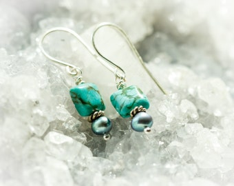 Square turquoise and teal freshwater pearl dangle earrings