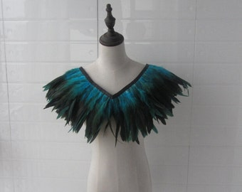 """28"""" long  Burlesque Turquoise  rooster coque feather Collar Shrug Cape"""