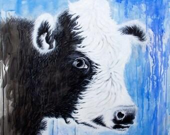 watercolor,print,painting,art,artwork,wall hanging,nature,farm,cow,animals,animal art,farm animals,kitchen art,nursery art,dairy,calf,cute