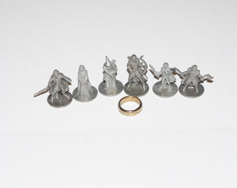Lot 7 Lord of the Rings with THE RING Monopoly Game Tokens Metal Parts Pieces Trilogy Edition Game