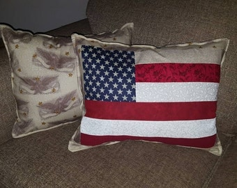 Quilted American Flag Throw Pillow