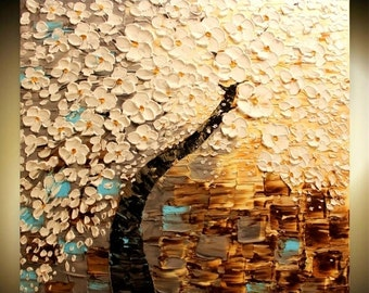 Sale ORIGINAL HUGE Landscape Abstract  White Cherry Blossoms Oil Painting Thick Texture Gallery Fine Art -Nicolette Vaughan Horner