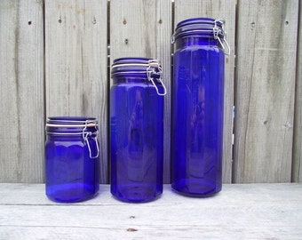 Cobalt Blue Glass Apothecary Jars w/ Hinged Lids - Canister Set of 3 - X Large + 12 Sided Pattern