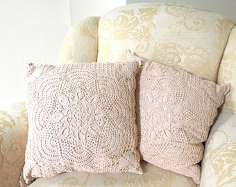Crochet Throw Pillow - Square Pillow - Crochet Pillow Cover - Crochet Pillowcase