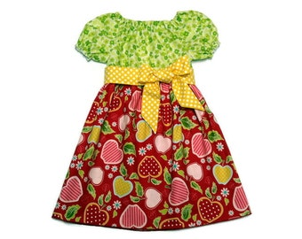 Girls Fall Dress Back To School Apples Yellow Polka Dot Peasant Size 6-12 month, 18 month, 2 / 3, 4 / 5, 6 / 7, 8 / 9