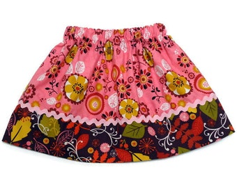 Girls Fall Skirt Custom Boutique Leaves Pink Size 2 / 3, 4 / 5, 6 / 7, 8 / 9 Ready to Ship