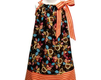 Girls Thanksgiving Pillowcase Dress Turkey Orange Chevron - Size 2 / 3, 4 / 5, 6 / 7, 8 / 9