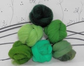 Wooly Buns roving, fiber sampler, assortment, needle felting supplies in Fir Tree, 1.5 oz 6 piece roving collection, green ombre shade