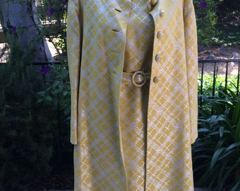 Yellow and Silver Jackie Kennedy Style early 1960s Dress and Coat by Jane Andre of California