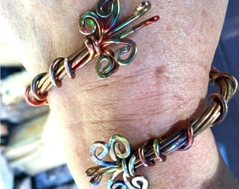 """Fire Painted Raw Copper """"Butterfly"""" Semi Bangle Bracelet Handmade Wire Wrapped"""