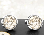 Cufflinks Berkley Springs WV Handmade Cuff Links City State Maps West Virginia Groomsmen Wedding Party Fathers Dads Men