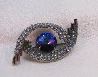 "c1950s' Purple Rivoli, AB ""Eye"" Brooch"
