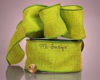 """5YDS Lime Green Faux Burlap 2-1/2"""" Wired Wire Edge Ribbon (FREE SHIPPING!)"""