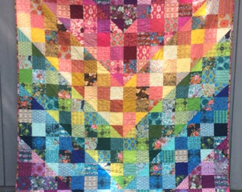 Color Dive Quilt w/velveteen backing