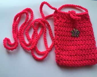 Crochet Hot pink Sokie Dokie Cell Phone Pouch, cellphone bag, cellphone purse, small bag, bag, purse, pouch, iPhone pouch and samsung's phon