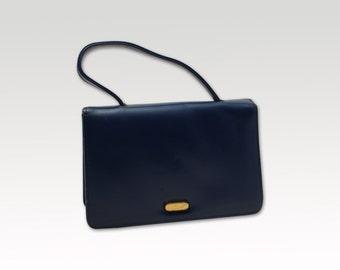 Irish Vintage, Navy Blue Leather Handbag, Top Handle Bag, Mad Men Bag, Purse 1960's