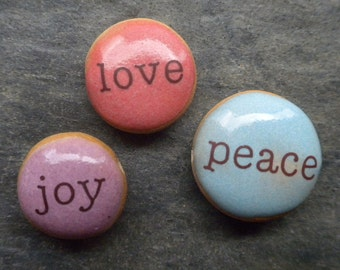 Joy. Peace. Love. handmade ceramic word beads in sky blue, lavender, and coral 1605