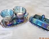 Colony Carnival Blue Creamer, Sugar with Tray  and Butter Dish with Lid in The Harvest Pattern