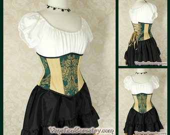 "Steampunk Patchwork Waspie Underbust Corset -- Green & Gold -- Size 40, Fits Waist 43""-45"" - Ready to Ship"