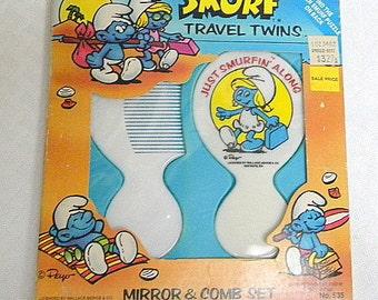 Smurfette comb and mirror in original box 1982 vintage