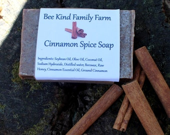 Cinnamon Sprice  cold Process Soap made with Honey and Beeswax
